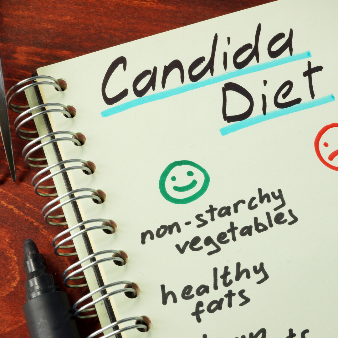 Written notes on a candida appropriate diet