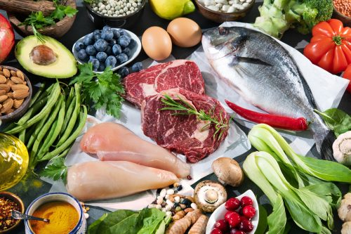 Collage of meat, vegetables & fruits suitable for the ketogenic meal plan (GF)