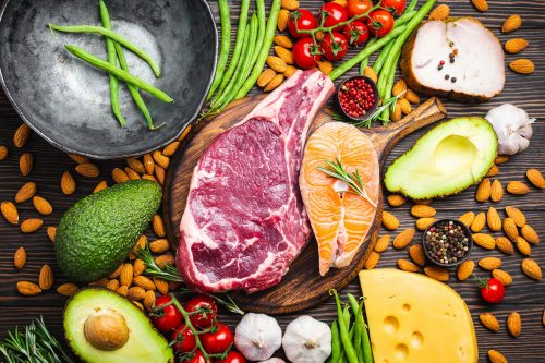 Collage of meat, vegetables & nuts suitable for a low carb, high protein primal-based diet.